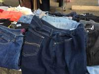 All kinds of jeans... $5 each! {Photo credit (c) Kim M. Bennett, 2016}